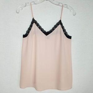 Halogen Women's Cami Lace Trim V-neck Light Pink